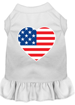 American Flag Heart Screen Print Dress - White