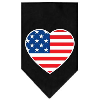 American Flag Heart Screen Print Bandana - Black