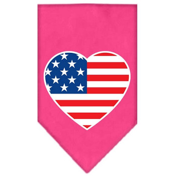 American Flag Heart Screen Print Bandana - Bright Pink