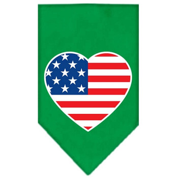 American Flag Heart Screen Print Bandana - Emerald Green