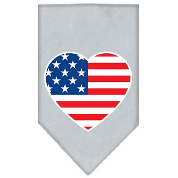 American Flag Heart Screen Print Bandana - Grey