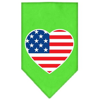 American Flag Heart Screen Print Bandana - Lime Green
