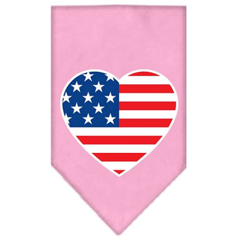 American Flag Heart Screen Print Bandana - Light Pink