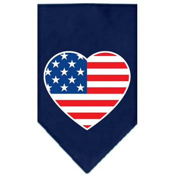 American Flag Heart Screen Print Bandana - Navy Blue