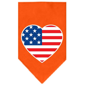 American Flag Heart Screen Print Bandana - Orange