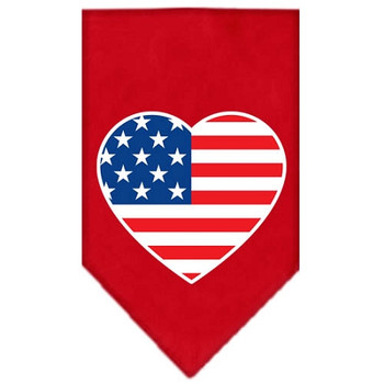 American Flag Heart Screen Print Bandana - Red