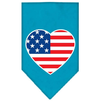 American Flag Heart Screen Print Bandana - Turquoise