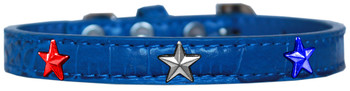 Red, White And Blue Star Widget Croc Dog Collar - Blue
