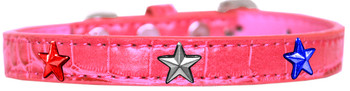 Red, White And Blue Star Widget Croc Dog Collar - Bright Pink
