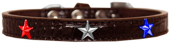 Red, White And Blue Star Widget Croc Dog Collar - Chocolate Brown
