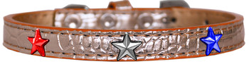 Red, White And Blue Star Widget Croc Dog Collar - Copper