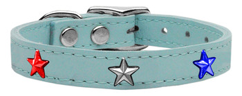 Red, White And Blue Star Widget Genuine Leather Dog Collar - Baby Blue