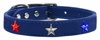 Red, White And Blue Star Widget Genuine Leather Dog Collar - Blue