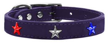 Red, White And Blue Star Widget Genuine Leather Dog Collar - Purple