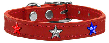 Red, White And Blue Star Widget Genuine Leather Dog Collar - Red