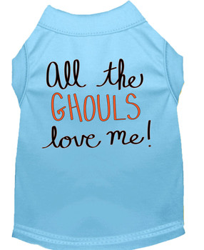All The Ghouls Screen Print Dog Shirt - Baby Blue