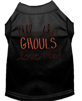 All The Ghouls Screen Print Dog Shirt - Black