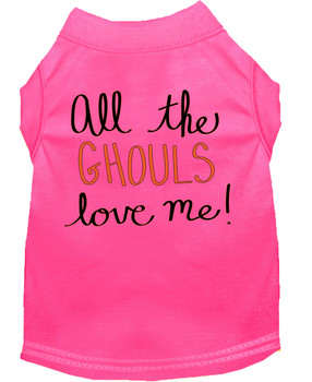 All The Ghouls Screen Print Dog Shirt - Bright Pink