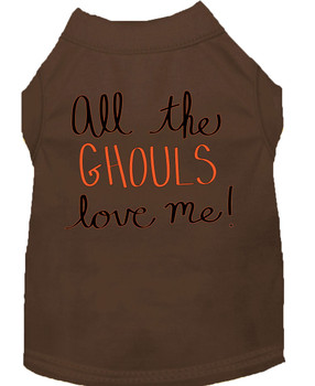 All The Ghouls Screen Print Dog Shirt - Brown
