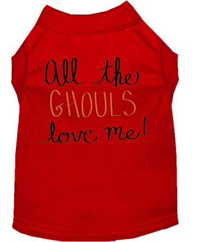 All The Ghouls Screen Print Dog Shirt - Red