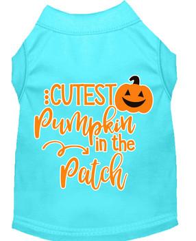 Cutest Pumpkin In The Patch Screen Print Dog Shirt - Aqua
