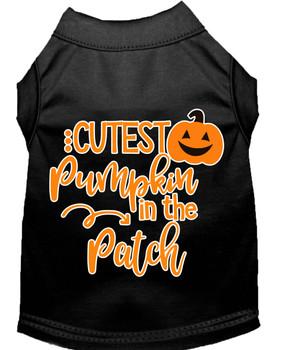 Cutest Pumpkin In The Patch Screen Print Dog Shirt - Black