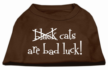 Black Cats Are Bad Luck Screen Print Shirt - Brown