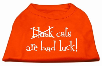 Black Cats Are Bad Luck Screen Print Shirt - Orange