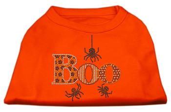 Boo Rhinestone Dog Shirt - Orange