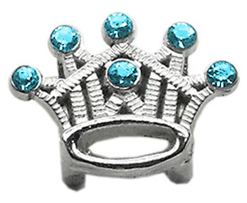 "3/8"" Slider Crystal Crown Charm - Turquoise"