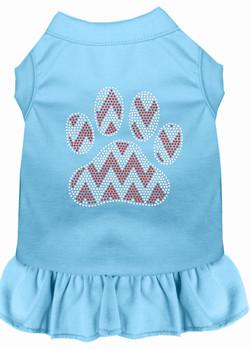 Candy Cane Chevron Paw Rhinestone Dog Dress - Baby Blue