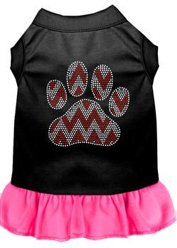 Candy Cane Chevron Paw Rhinestone Dog Dress - Black With Bright Pink