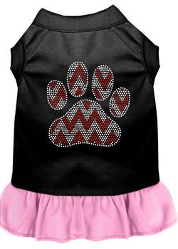 Candy Cane Chevron Paw Rhinestone Dog Dress - Black With Light Pink