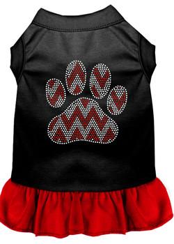 Candy Cane Chevron Paw Rhinestone Dog Dress - Black With Red