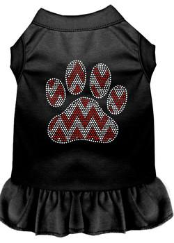 Candy Cane Chevron Paw Rhinestone Dog Dress - Black