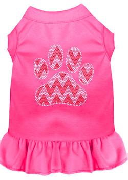 Candy Cane Chevron Paw Rhinestone Dog Dress - Bright Pink