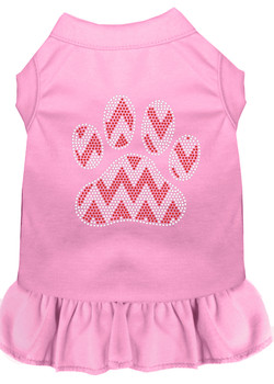 Candy Cane Chevron Paw Rhinestone Dog Dress - Light Pink
