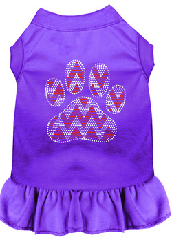 Candy Cane Chevron Paw Rhinestone Dog Dress - Purple
