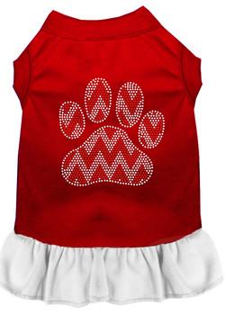Candy Cane Chevron Paw Rhinestone Dog Dress - Red With White