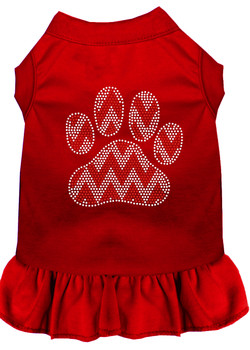 Candy Cane Chevron Paw Rhinestone Dog Dress - Red