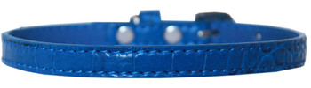 Omaha Plain Croc Dog Collar - Blue