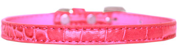Omaha Plain Croc Dog Collar - Bright Pink