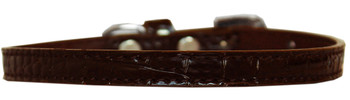 Omaha Plain Croc Dog Collar - Chocolate