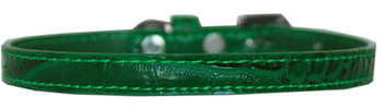 Omaha Plain Croc Dog Collar - Emerald Green