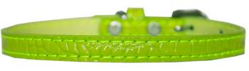Omaha Plain Croc Dog Collar - Lime Green