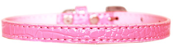 Omaha Plain Croc Dog Collar - Light Pink