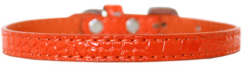 Omaha Plain Croc Dog Collar - Orange