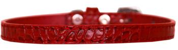 Omaha Plain Croc Dog Collar - Red