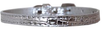 Omaha Plain Croc Dog Collar - Silver