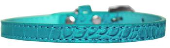 Omaha Plain Croc Dog Collar - Turquoise
